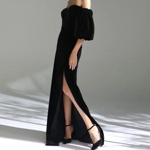 Black Velvet Formal Gown Maxi Dress Long Strapless
